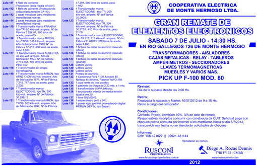 Elementos Electronicos – Cooperativa Electrica de Monte Hermoso