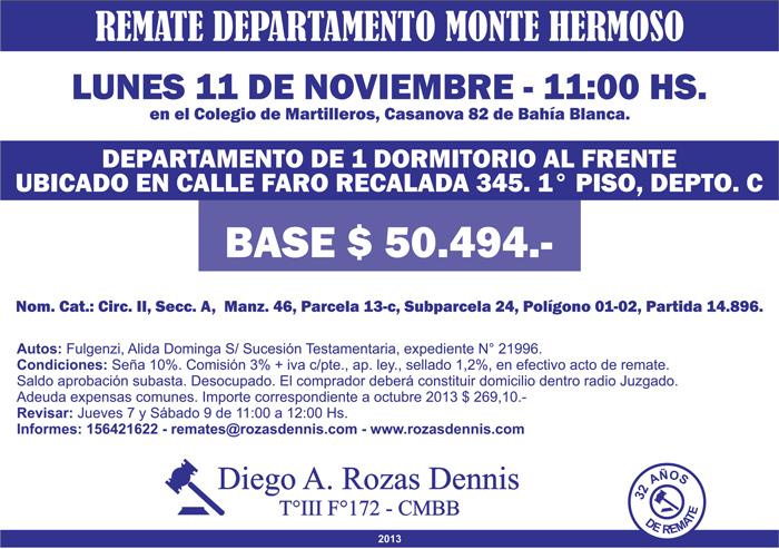 Remate Departamento Monte Hermoso