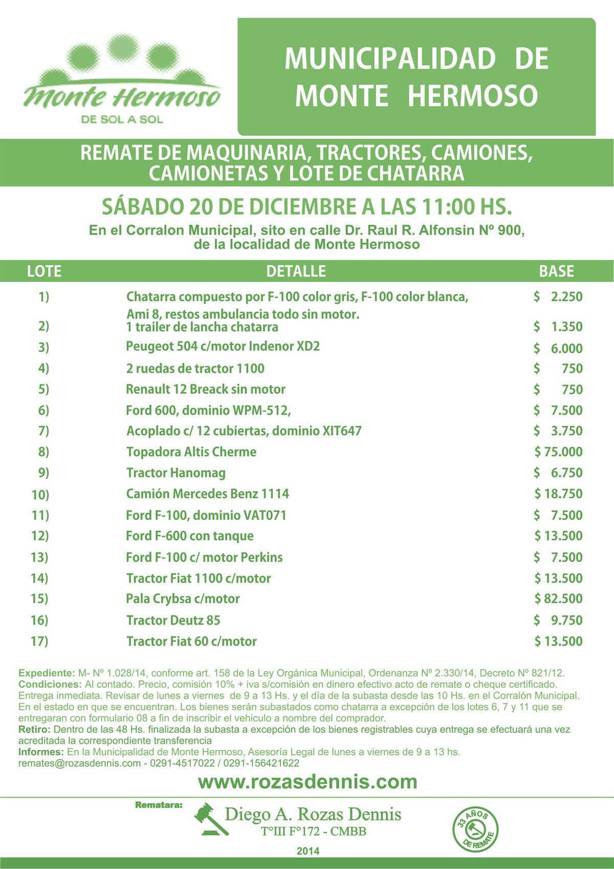 Remate Chatarra y Maquinarias en Monte Hermoso